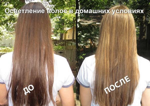 Результат осветления волос медом